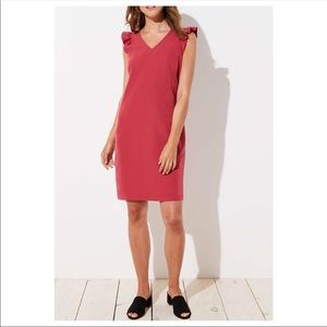 NTW Loft Vneck ruffle cap sleeve shift dress small